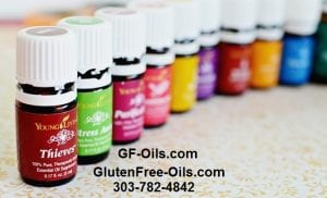 GF-Oils.com Bottles of Young Living Essential oils promoting gluten free essential oils.