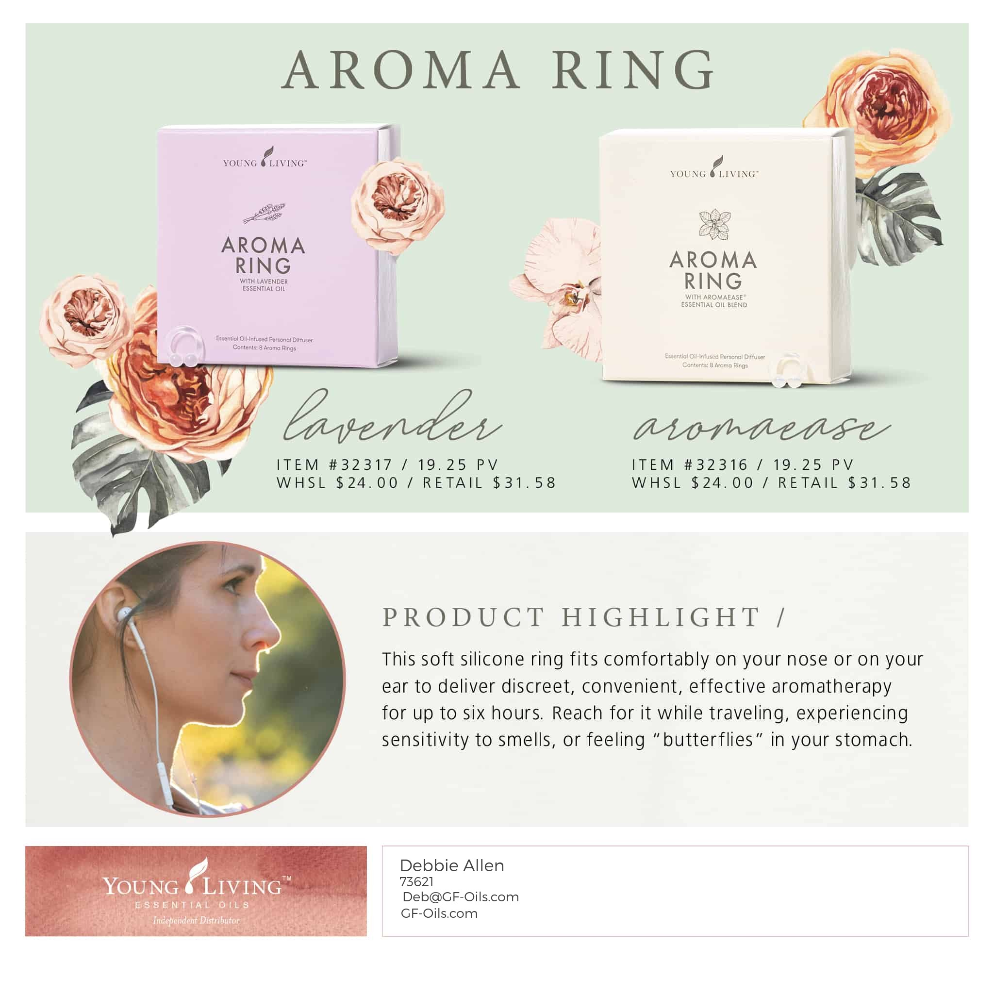 Aroma Ring Lavender 32317 Powerful Soothing Personal Aromagf Oils Com